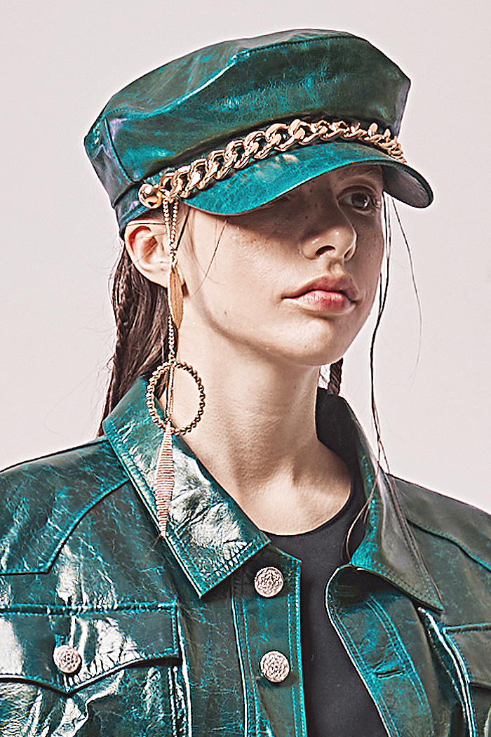Lambskin Newsboy cap_Blue green