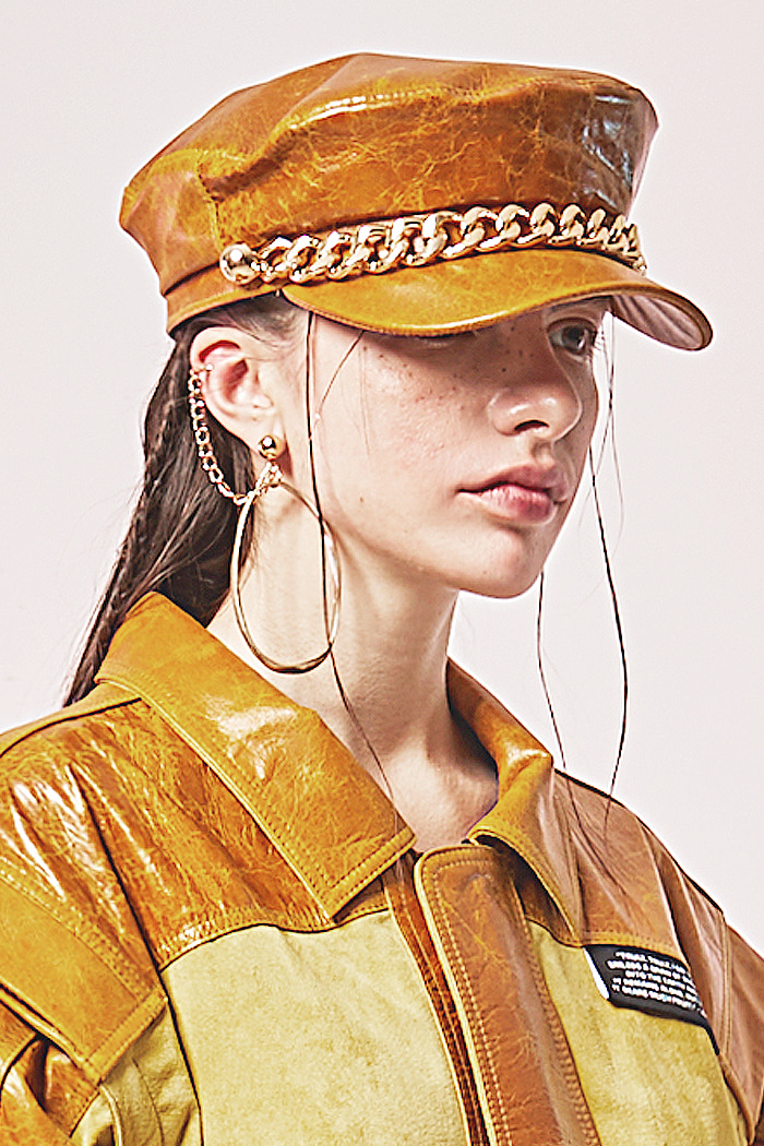 Lambskin Newsboy cap_yellow