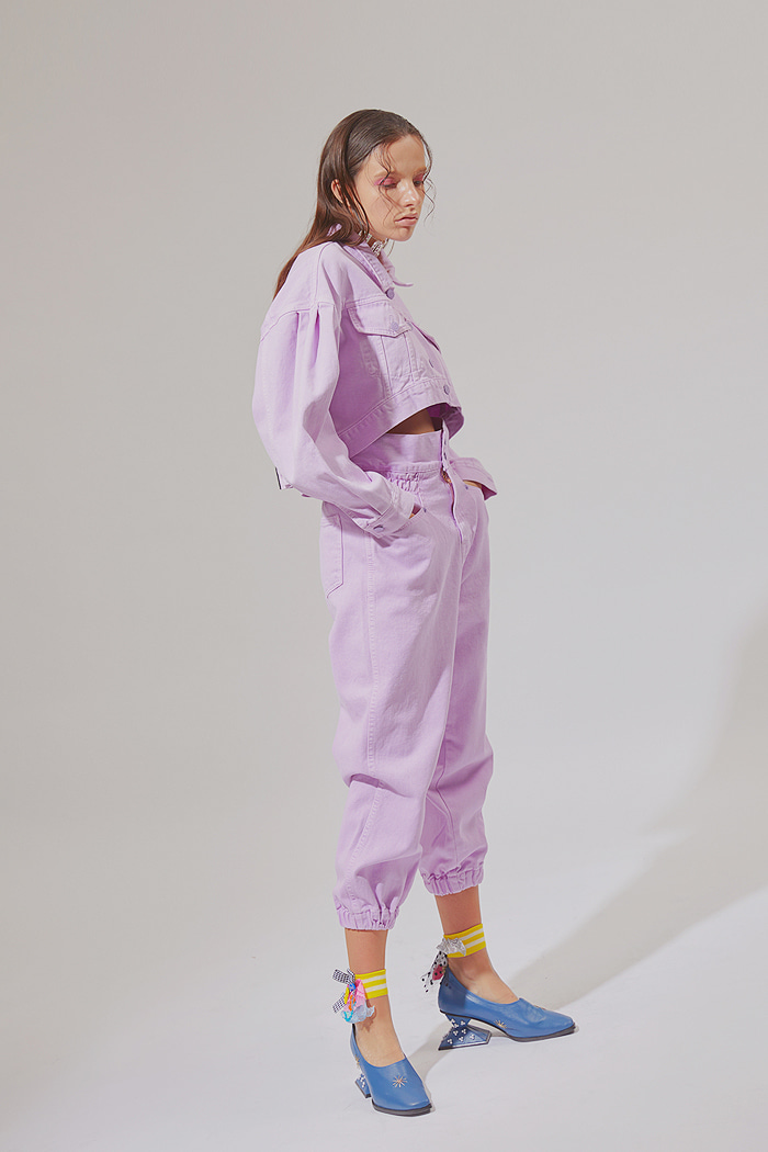 Crop Garment Dyeing Pants_Purple