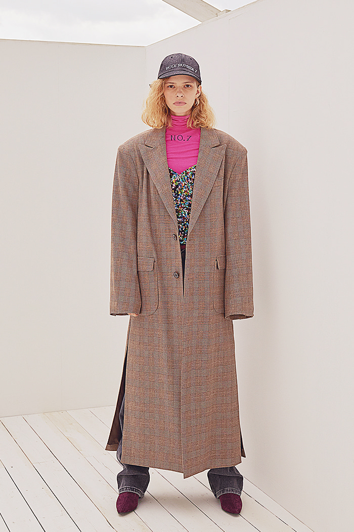 Glen check Single LONG COAT