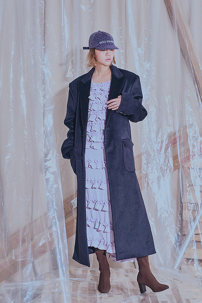 Cashmere-Single LONG COAT(Navy)