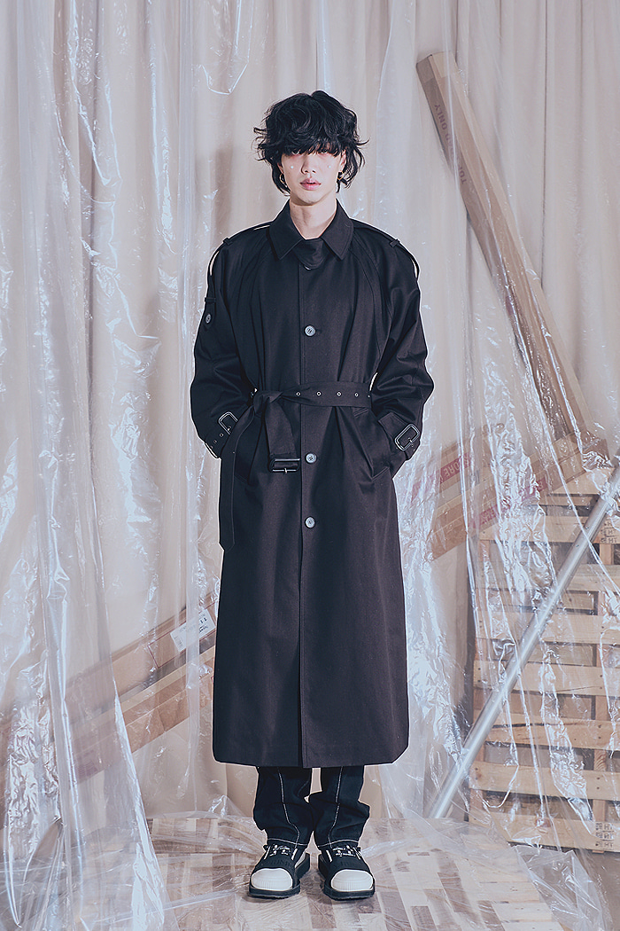 Single button TRENCH LONG COAT_BLACK_MAN