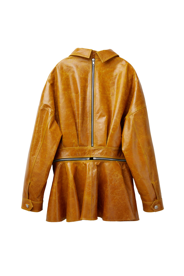 Lambskin zipper jacket_yellow
