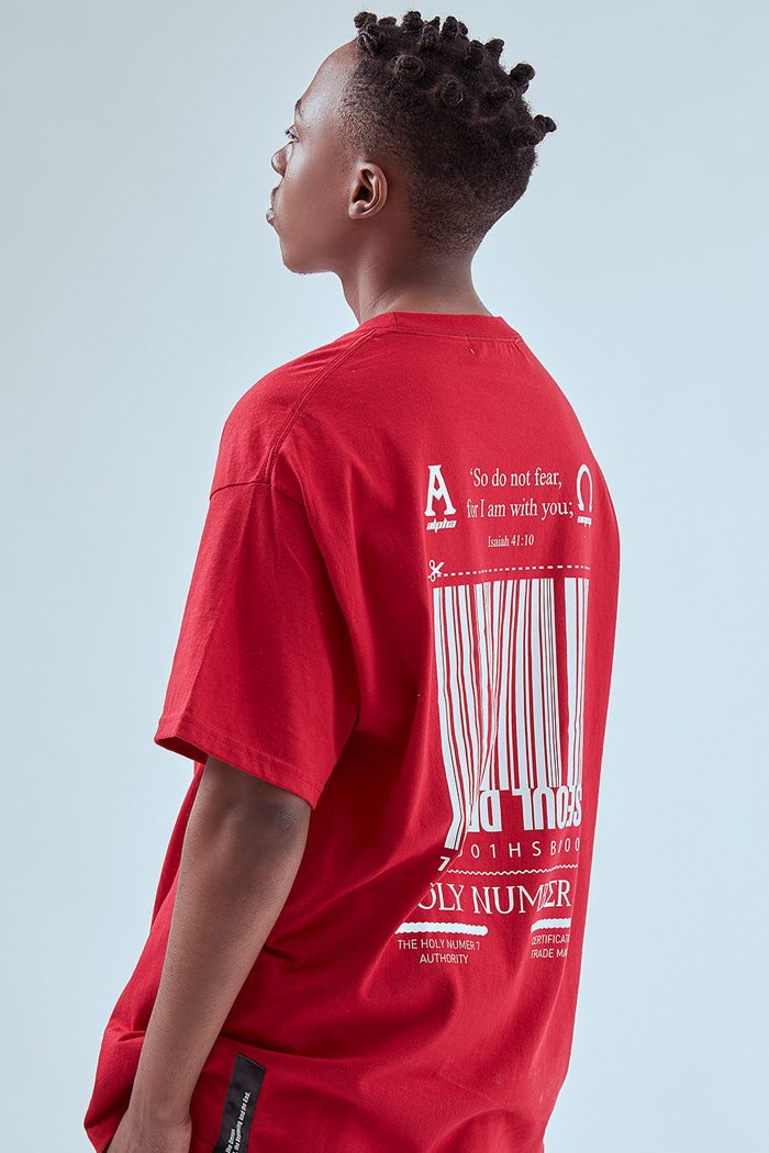 [Over-fit] barcode half-sleeve_RED