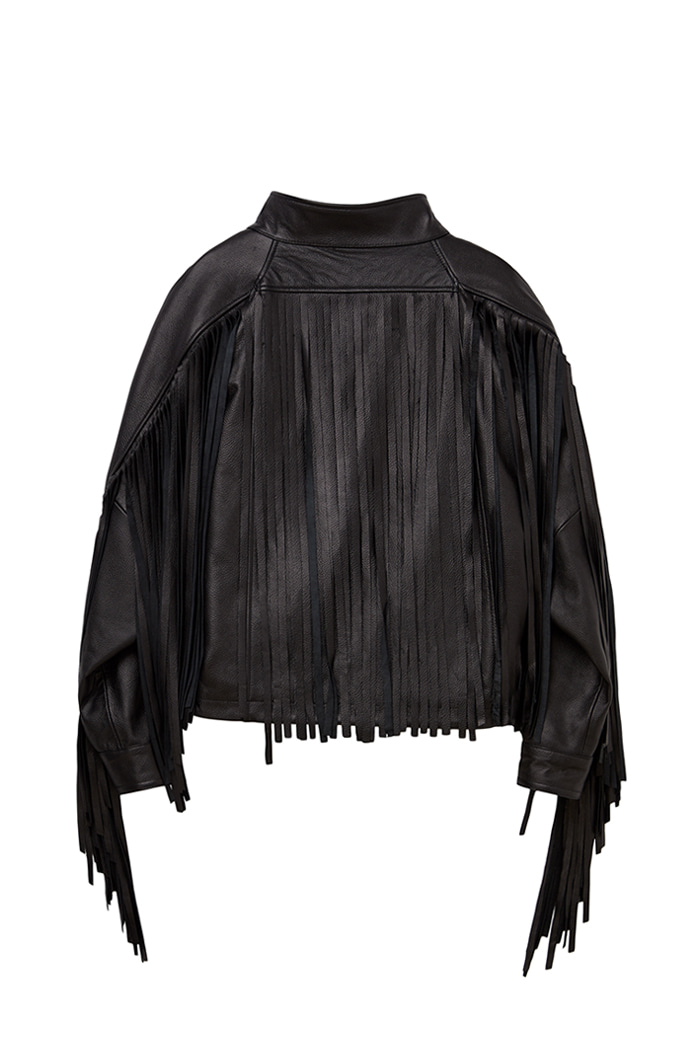 Lambskin Tassel Band neck Rider Jacket