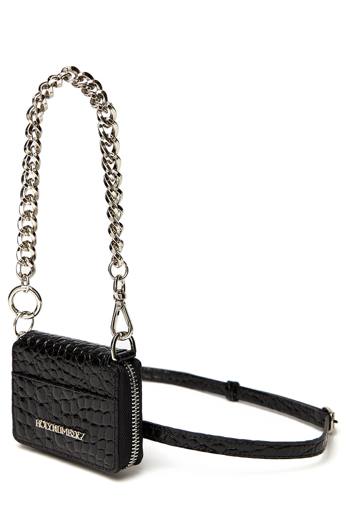 [COWHIDE] CROCODILE PATTERN MICRO BAG_BLACK