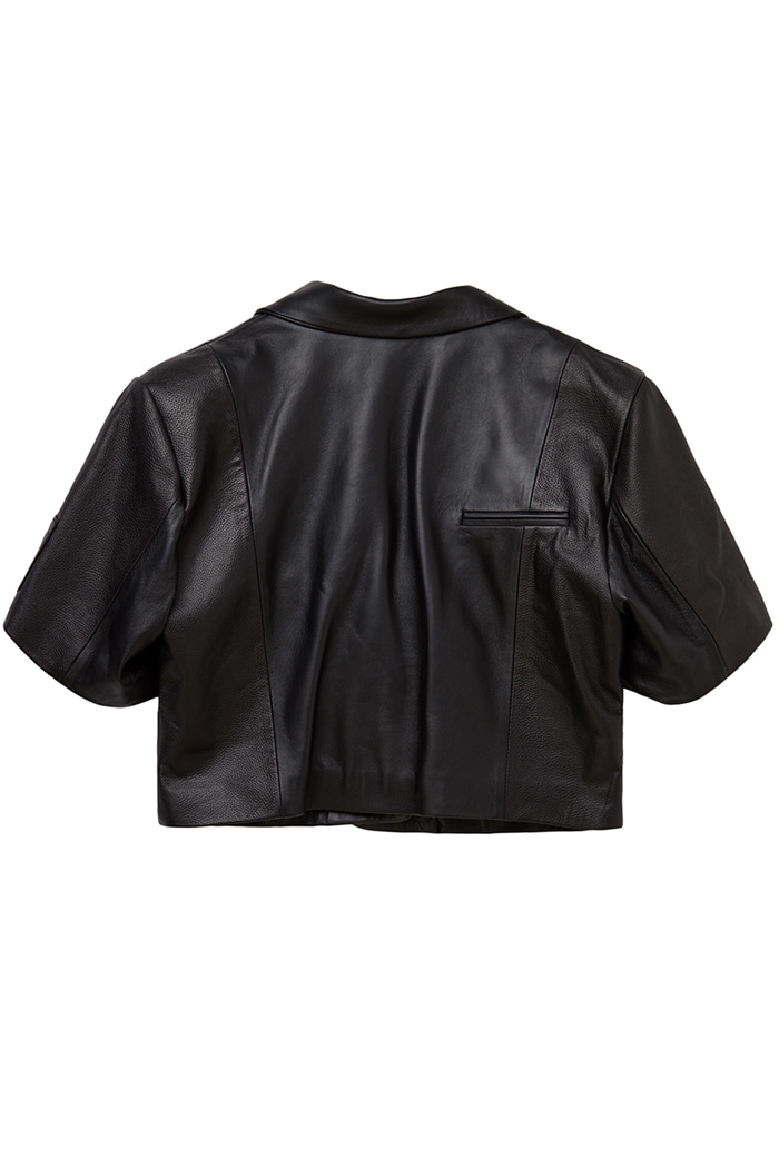 Lambskin Strap Over shoulder Crop Jacket