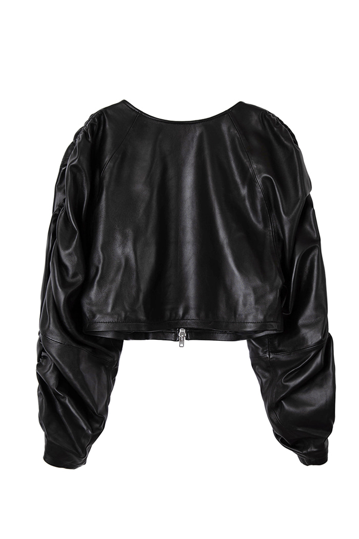 Lambskin Shirring Crop Jumper