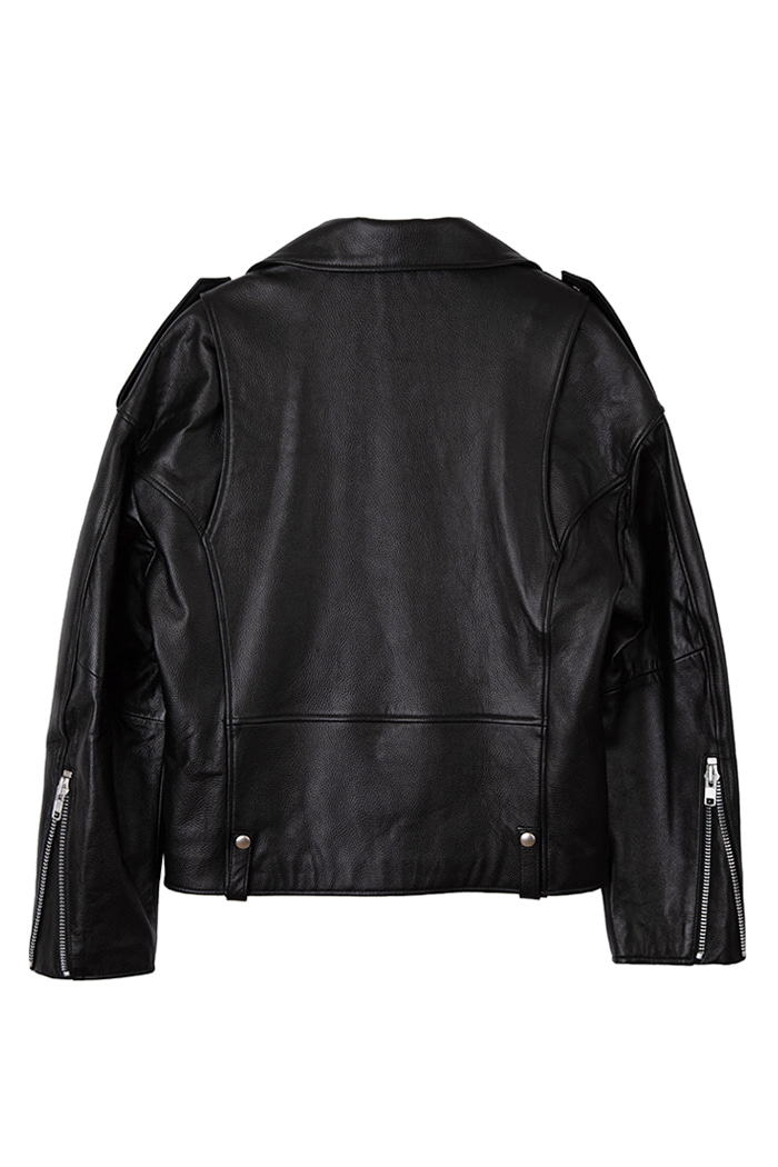 Over-fit Lambskin Epaulet Rider Jacket