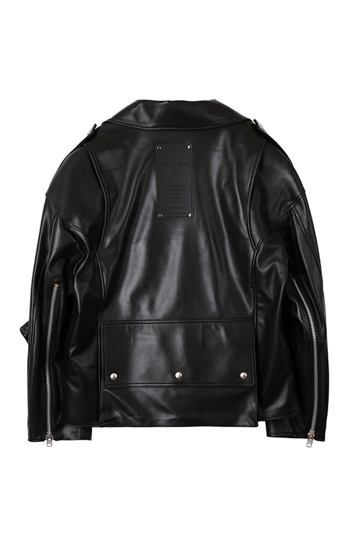 Lambskin Chest belt Zipper Rider Jacket