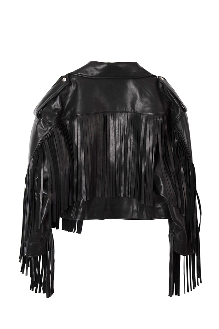 Over-fit Lambskin Tassel Rider Jacket