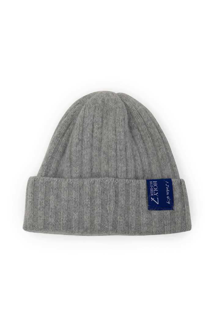 SILVER LETTERING ANGORA BEANIE_GRAY