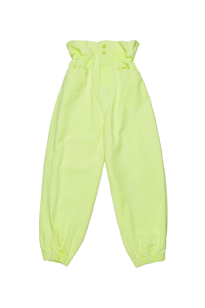 Crop Garment Dyeing Pants_Lime