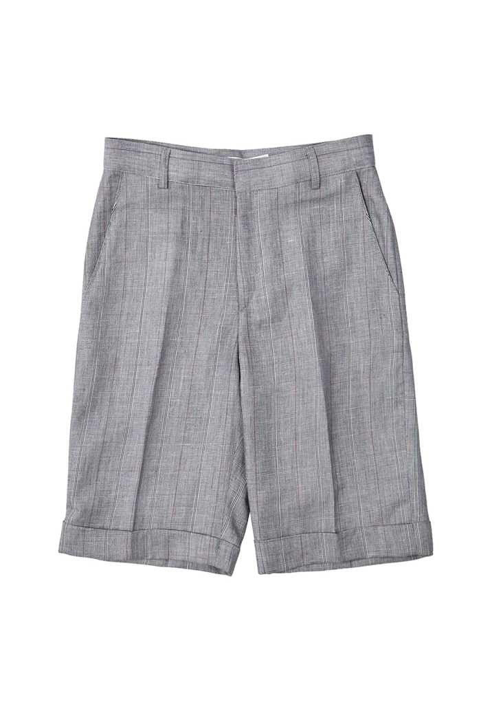Linen Checked half pants_Gray