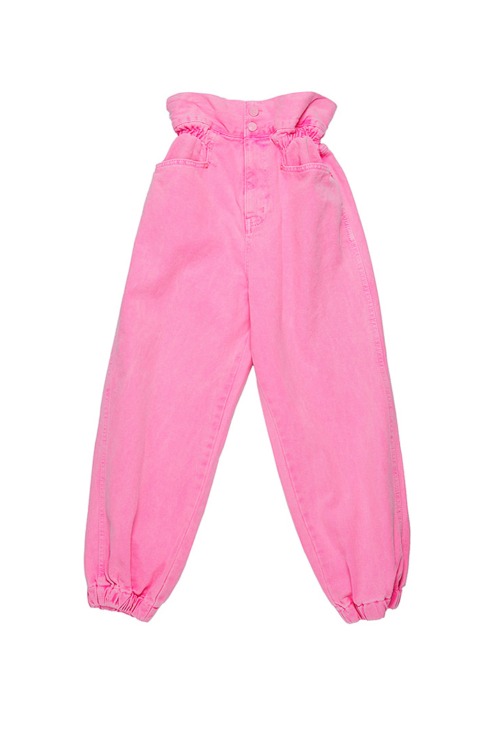 Crop Garment Dyeing Pants_Pink