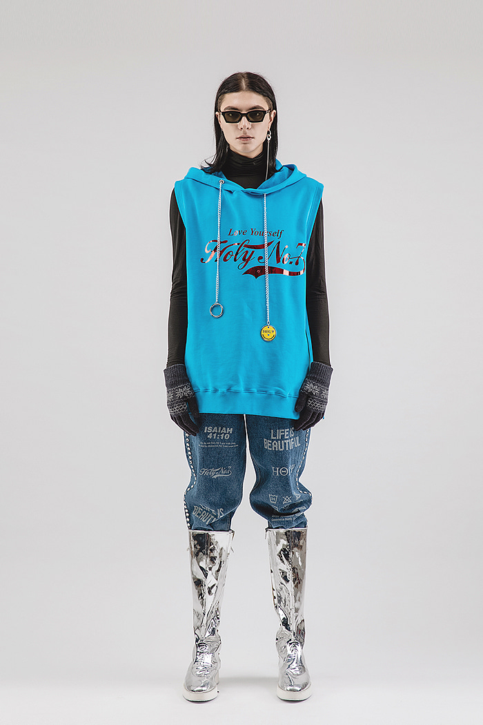 Chain zipper hoody_blue