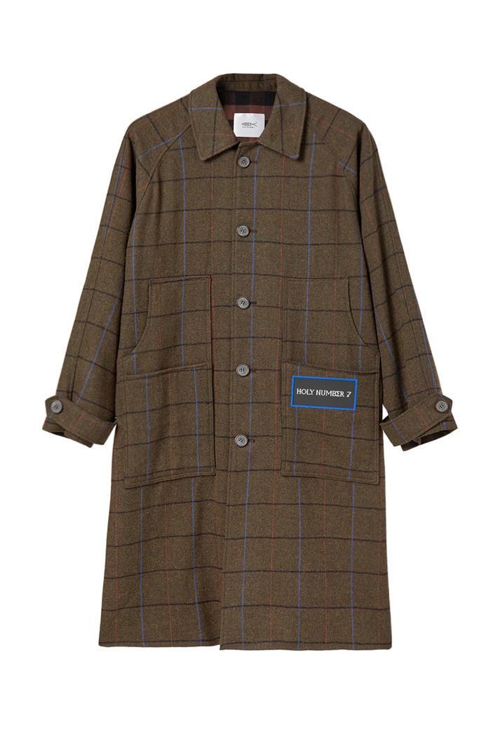 Wool Balmacaan  Check coat