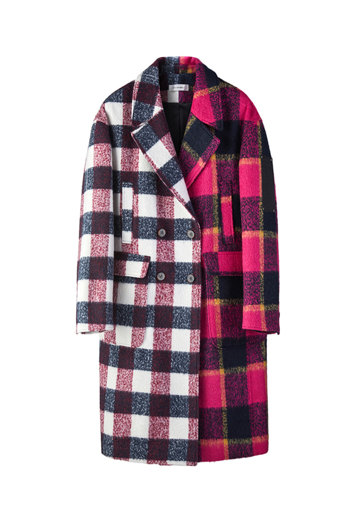 Mohair check coat_RED