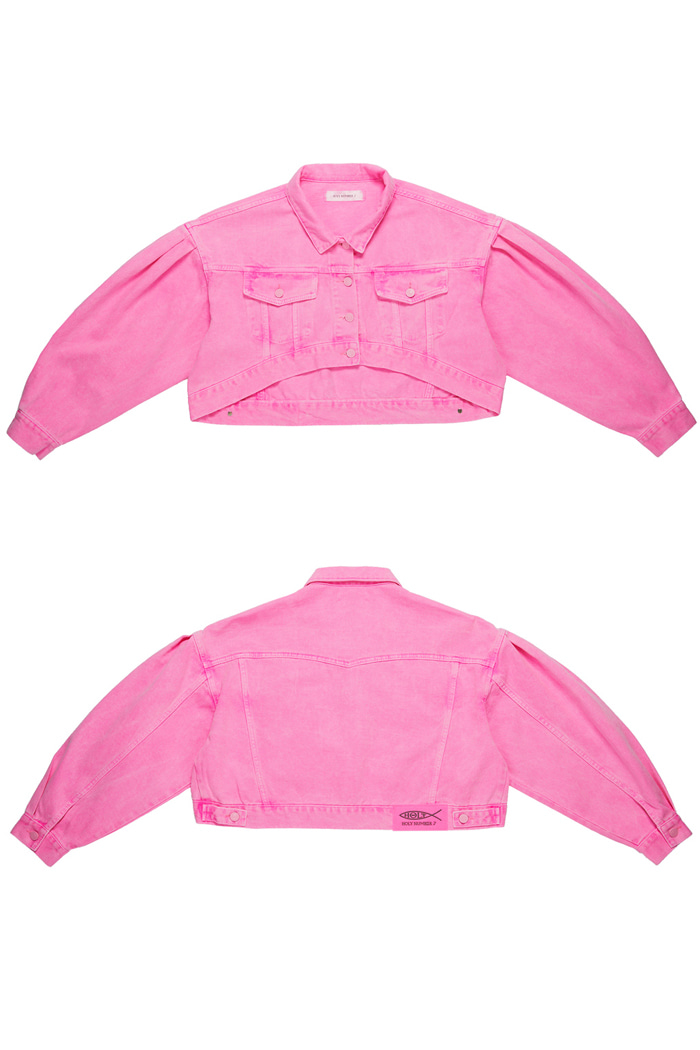 Crop Garment Dyeing Jacket_Pink