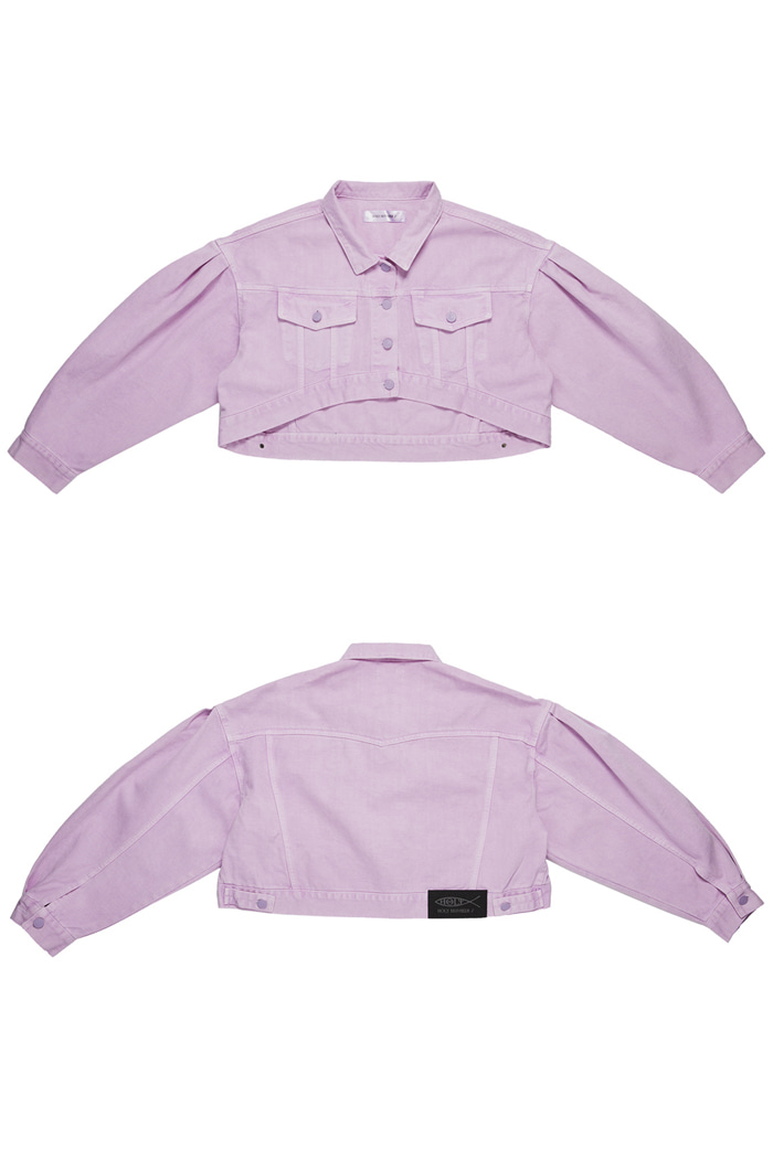 Crop Garment Dyeing Jacket_Purple