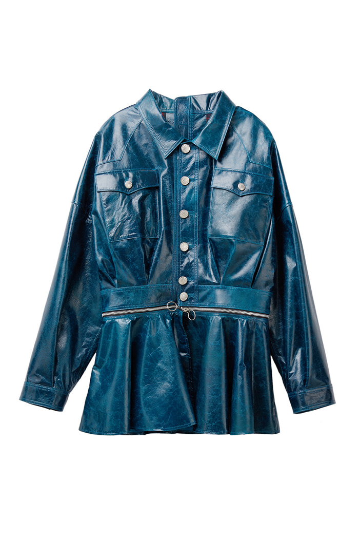 Lambskin zipper jacket_Blue Green