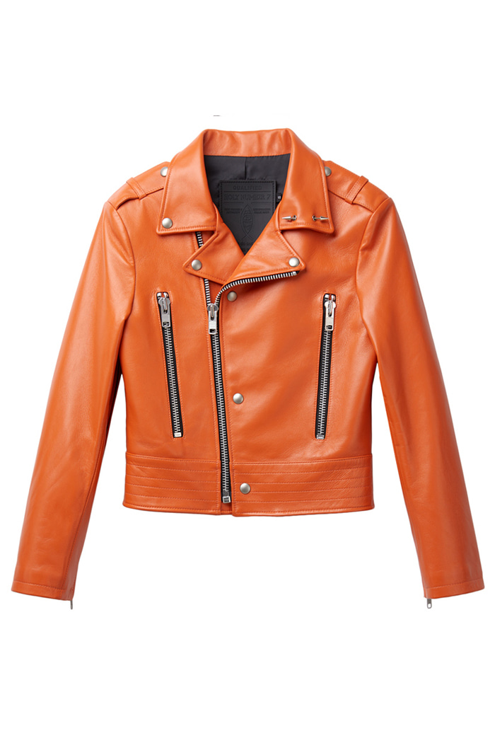 Zipper sleeves Lambskin Jacket_Orange
