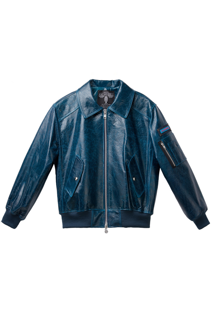 Lambskin bomber jumper_Blue Green