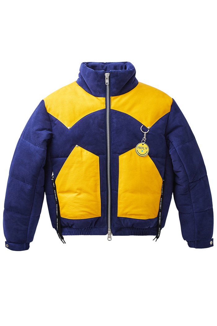 Lambskin leather short padding jumper_ Yellow양가죽 레더 숏 패딩 점퍼_옐로우