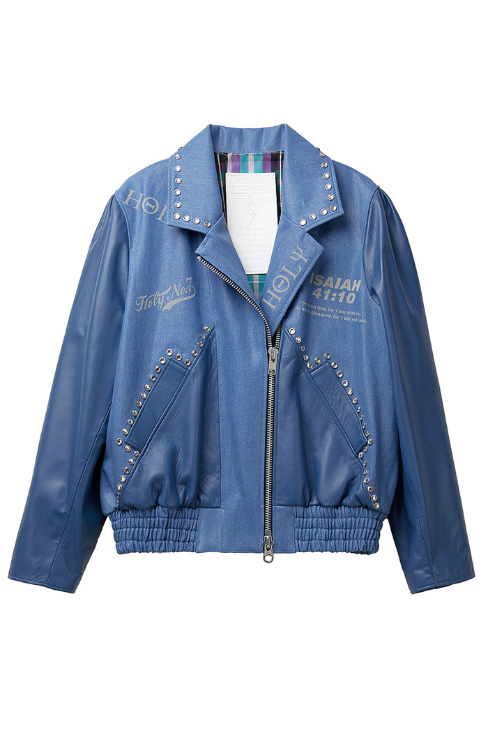 Twinkle coating denim Leather Blouson