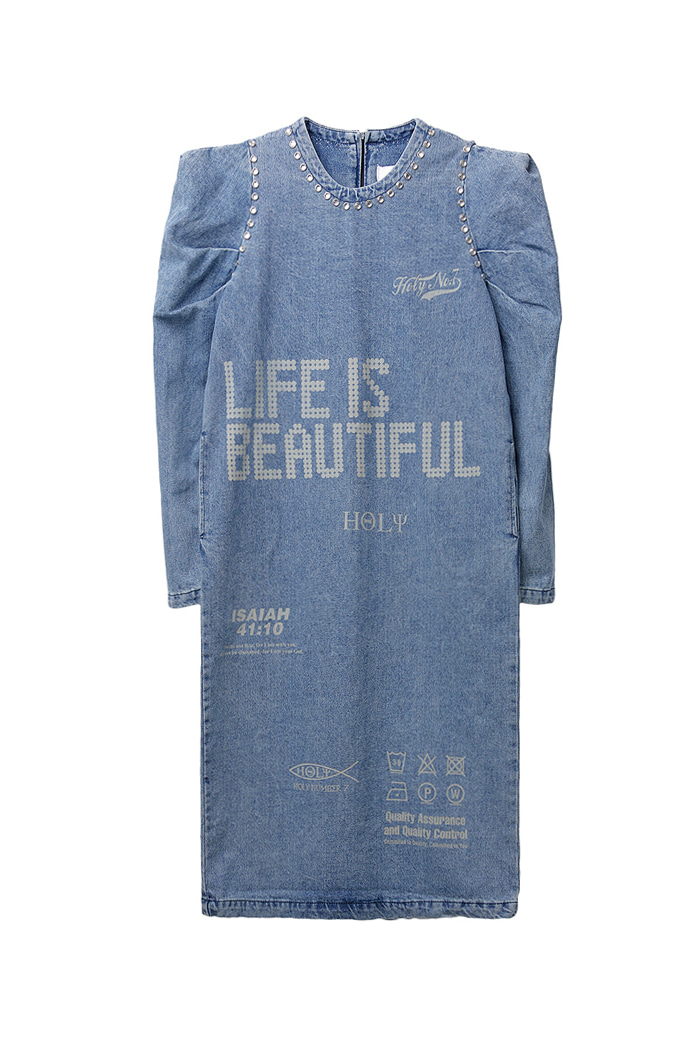 Twinkle Volume Denim One-piece