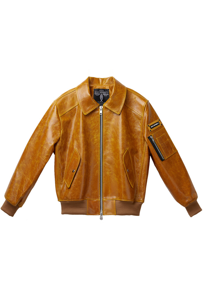 Lambskin bomber jumper_yellow