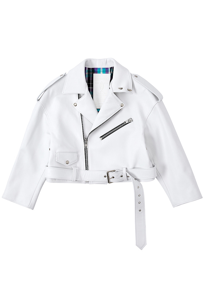 Over-fit Lambskin White Rider Jacket