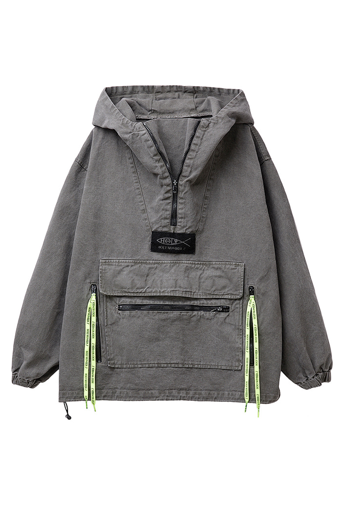 Garment Washing Anorak_Charcoal