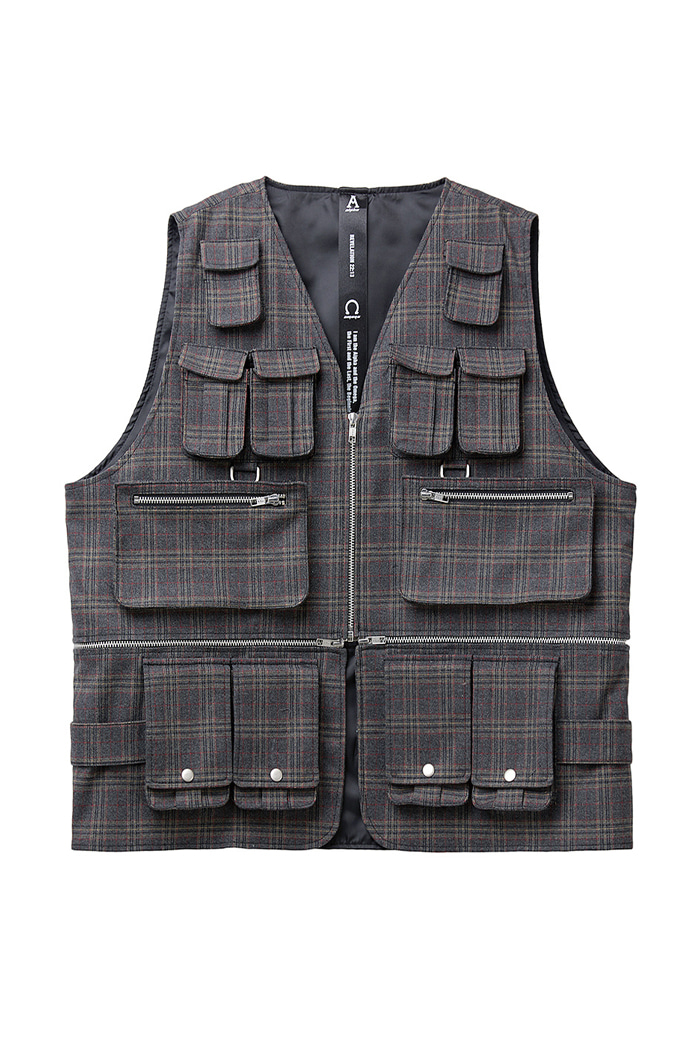 Celebrity Pocket Check Vest Jacket