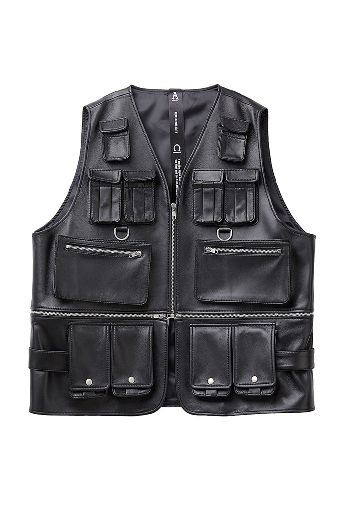 Lambskin Celebrity Pocket black Vest Jacket