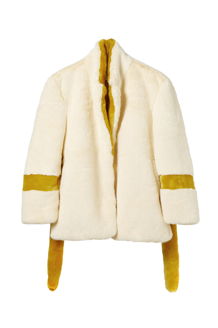 Eco-fur belted jacket_IVORY