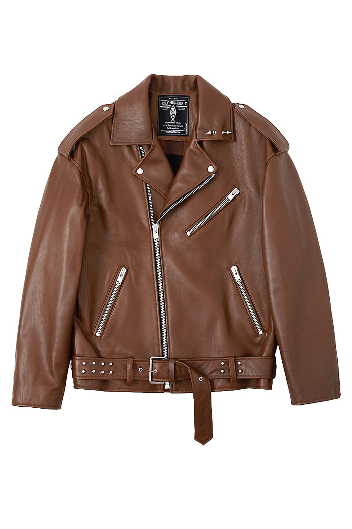 Over-fit Stud Belt Lambskin Rider Jacke