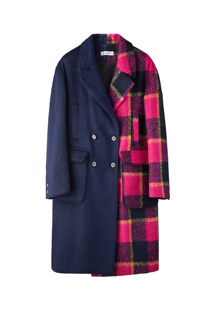 Mohair check coat_NAVY