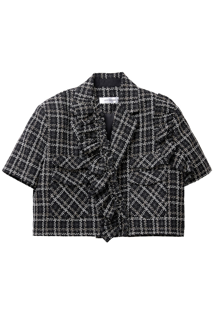 Crop Tweed Frill jacket_black