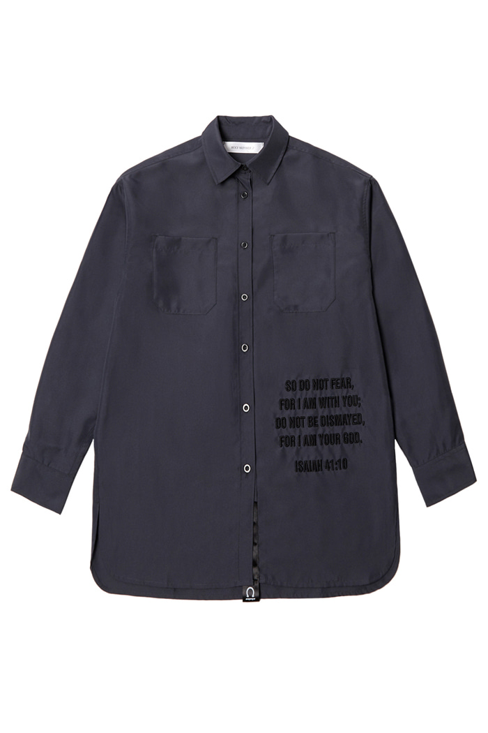 Overfit Embroidery Shirt_charcoal