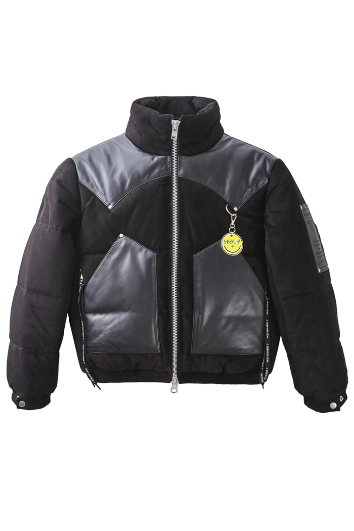 Lambskin leather short padding jumper_Black양가죽 레더 숏 패딩 점퍼_블랙