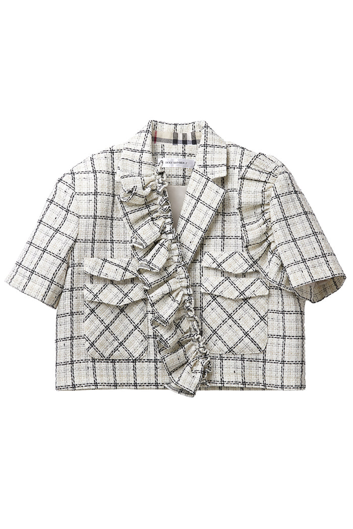 Crop Tweed Frill jacket_ivory