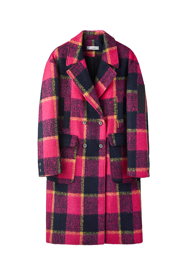 Mohair check coat_Pink