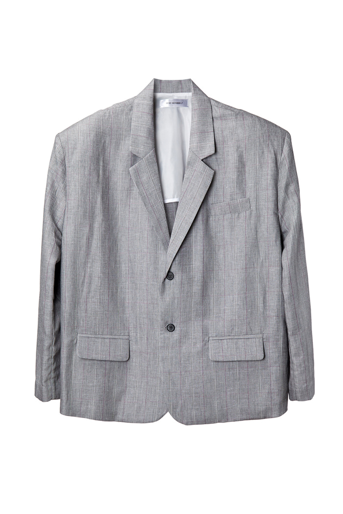 [Overfit] Linen Checked Two-Button Blazer_Gray