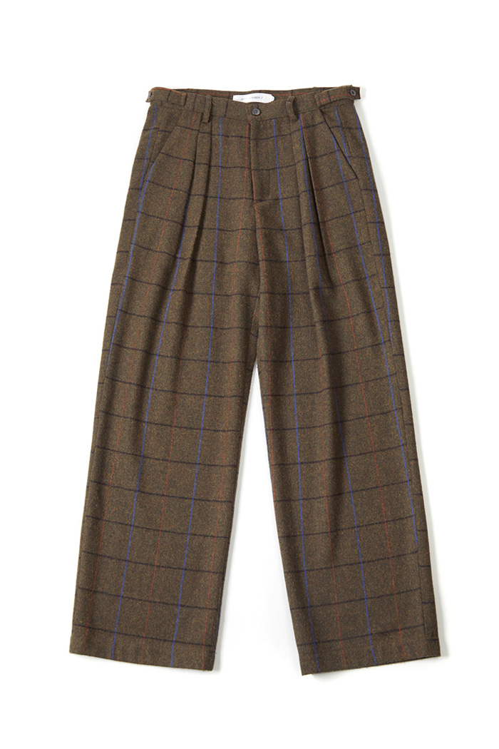 Wool-Wide pants-Check