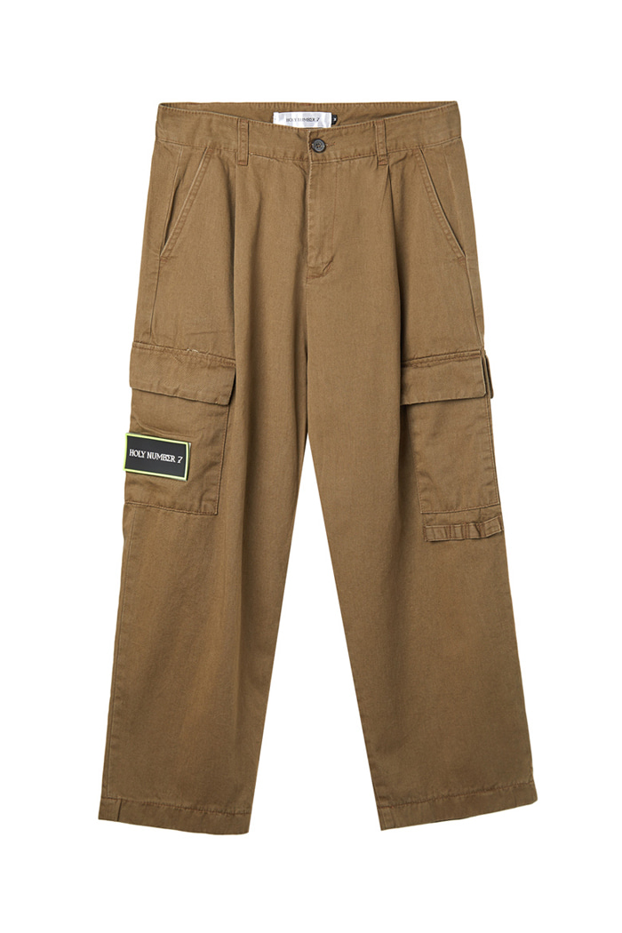 Chino wide cargo pants_Dark beige