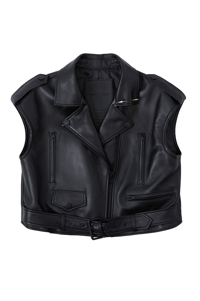 Crop Wide Lambskin Vest Jacket