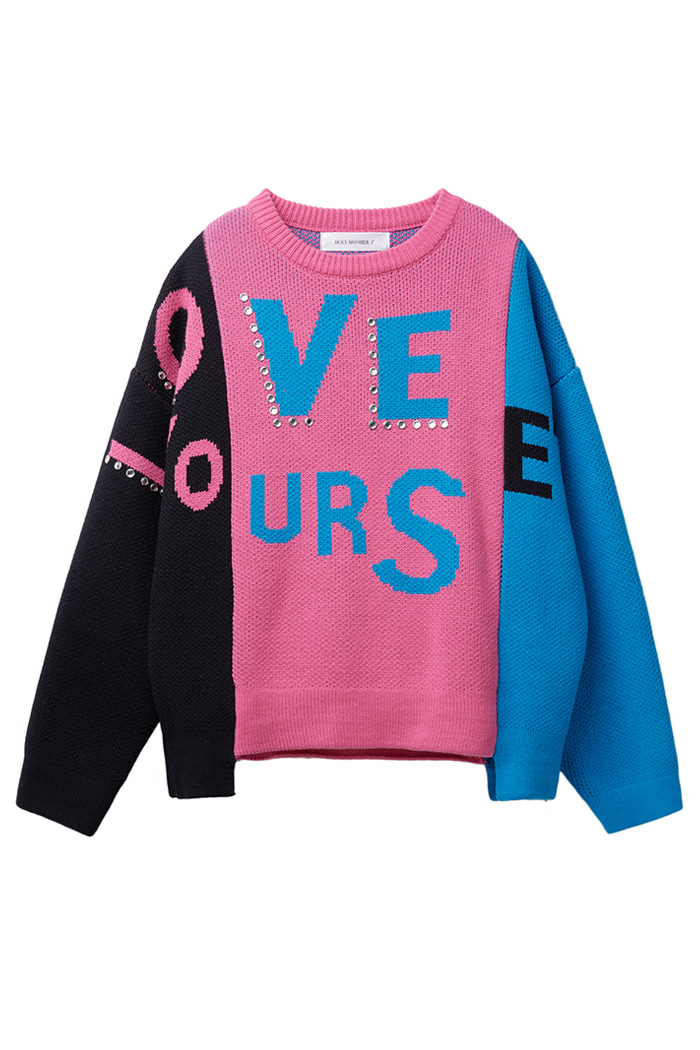 [특가이벤트]LOVE YOUR SELF BEADS KNIT_pink