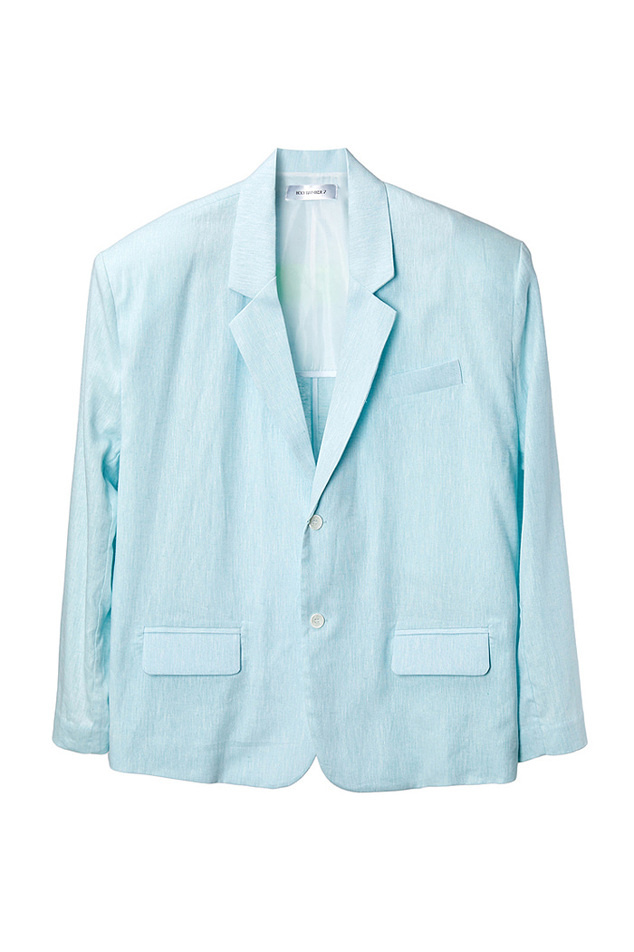 [Overfit] Linen100% Two-Button Blazer_sky blue