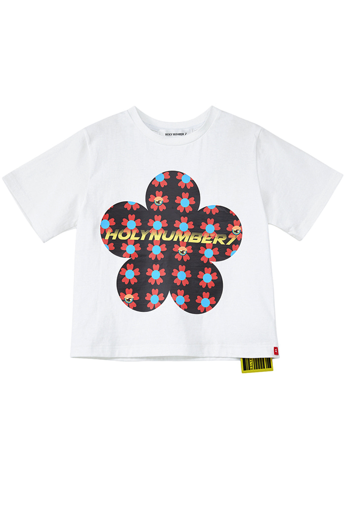 flower PIPING POINT CROP T-SHIRTS_WHITE